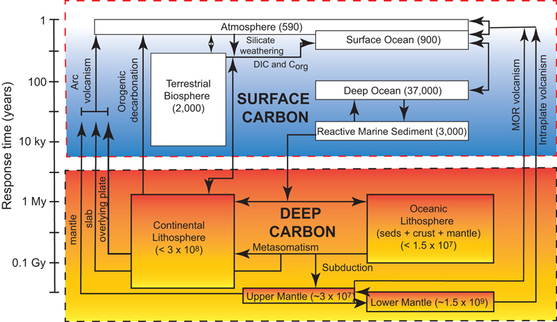 Figure 1. Carbon reservoirs and cycles in the Earth.